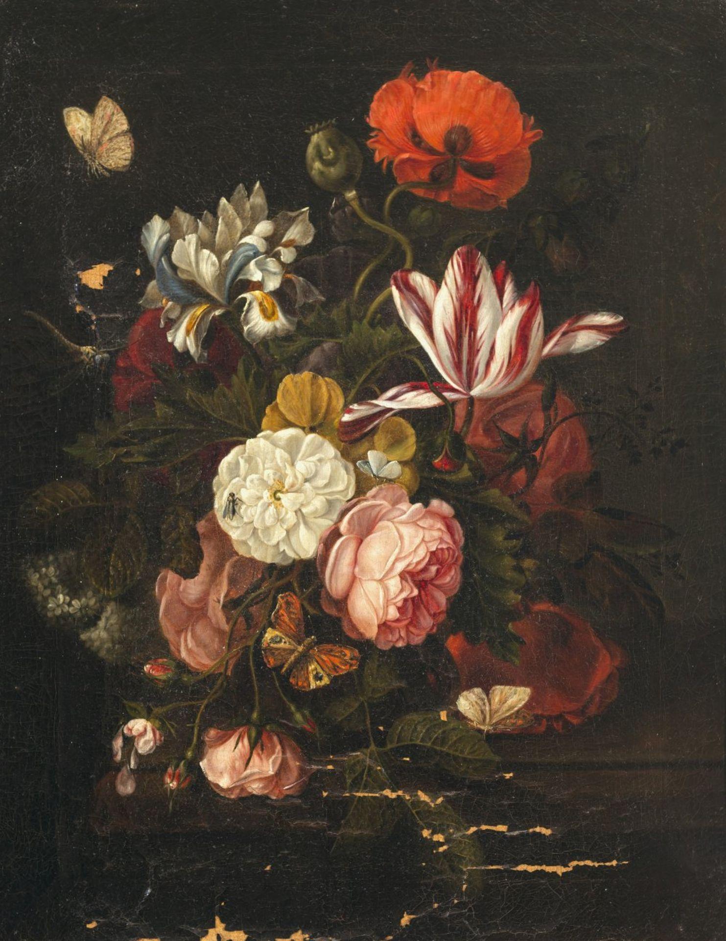 Oosterwyck, Maria von, UmkreisBlumenstillleben. Öl/Lw. 61 x 47 cm. Besch. Unsign.Circle of Maria von