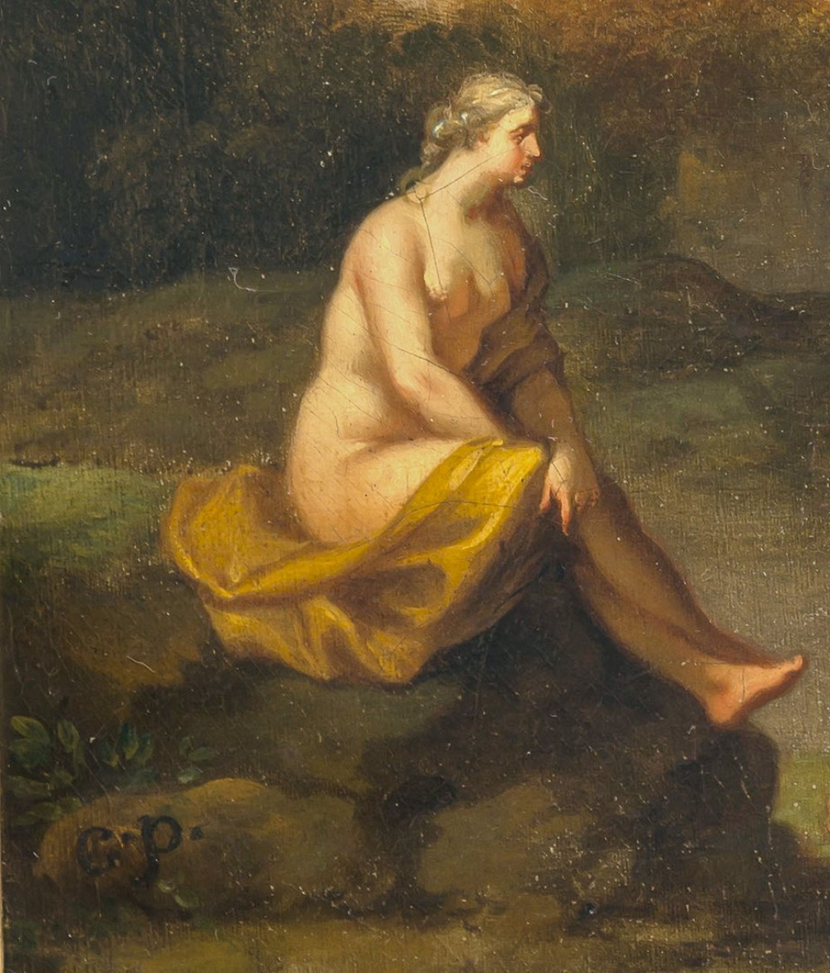 Poelenburgh, Cornelis van, zugeschriebenArkadische Landschaft mit Nymphen. Öl/Lw. 31 x 36,5 cm. - Bild 3 aus 3