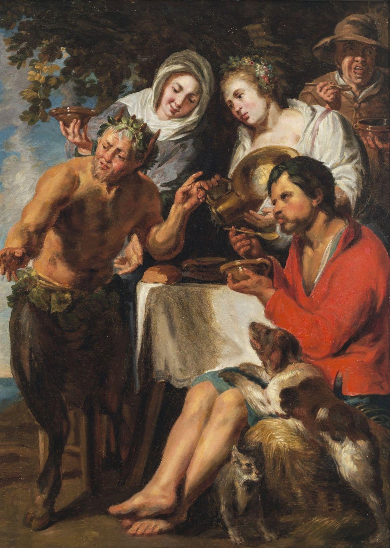 Jordaens, Jacob, UmkreisDer Satyr bei Bauern. Öl/Holz. 71 x 50 cm. Rest., parkettiert. Unsign.Circle