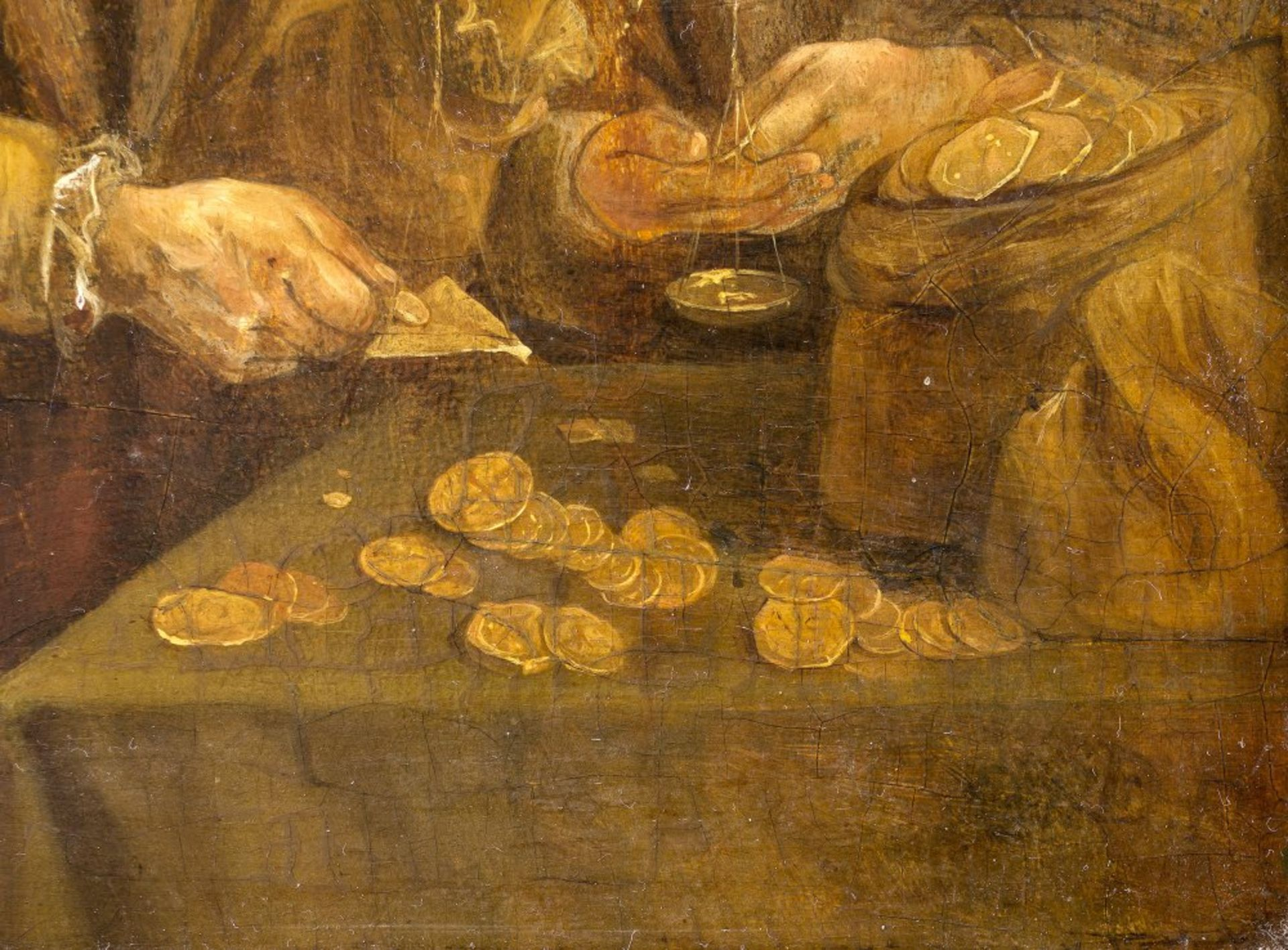 Niederlande, 17. Jh.Der Goldwäger. Öl/Holz. 23,5 x 17,5 cm. Besch., rest. Unsign.The Netherlands , - Bild 2 aus 2