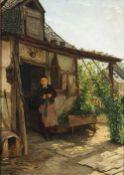 Seyppel, Carl MariaJunges Mädchen vor einem Haus. Öl/Karton. 55 x 39 cm. Sign., dat. Mai 1881, bez.: