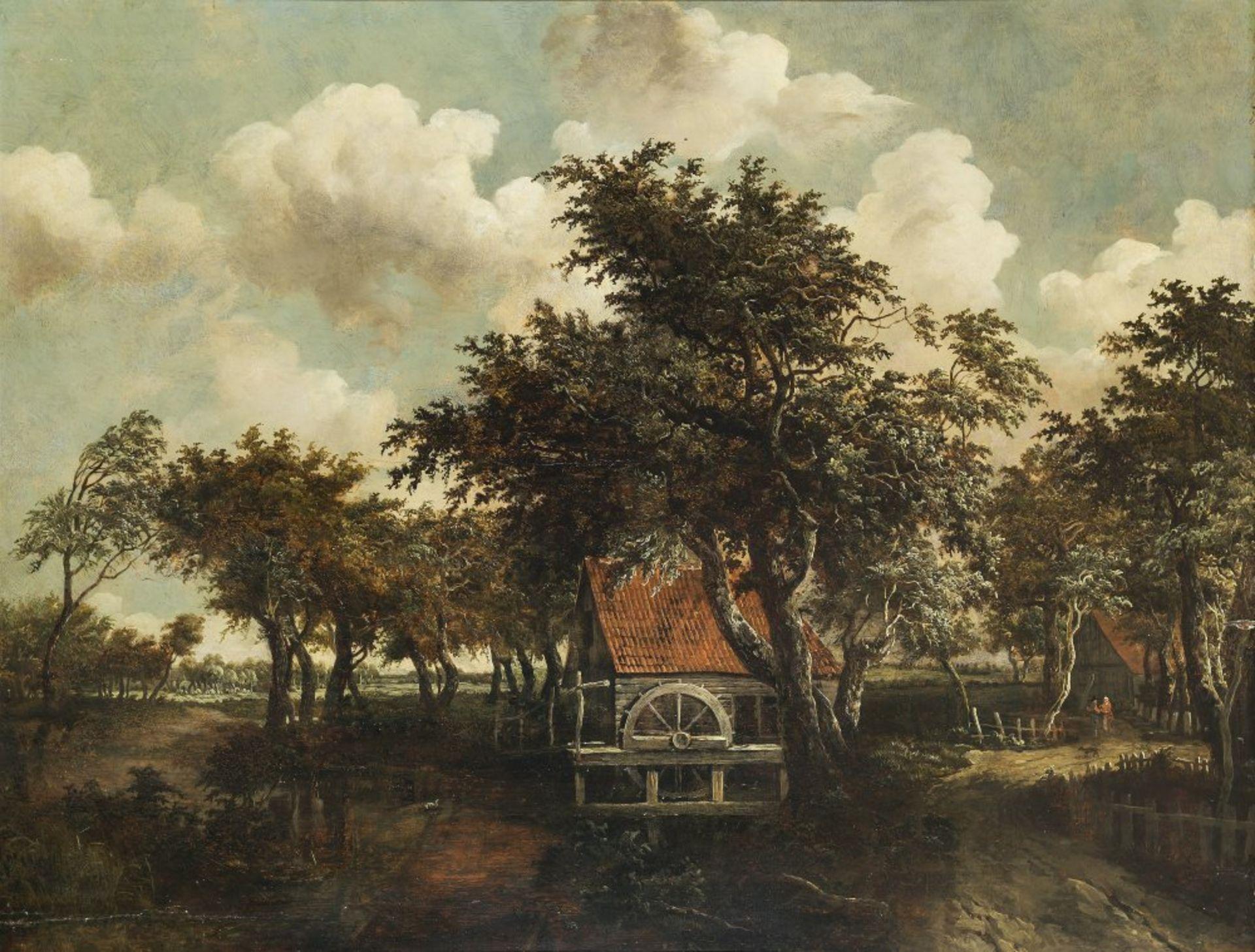 Hobbema, Meindert, zugeschriebenMühle im Eichenhain. Öl/Holz. 58 x 80 cm. Besch., rest. Unsign.
