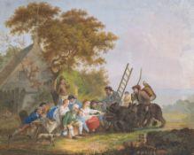 Niederlande, 18. Jh.Zirkusleute mit zwei zahmen Bären vor einem Bauernhaus. Aquarell. 23,5 x 29,5