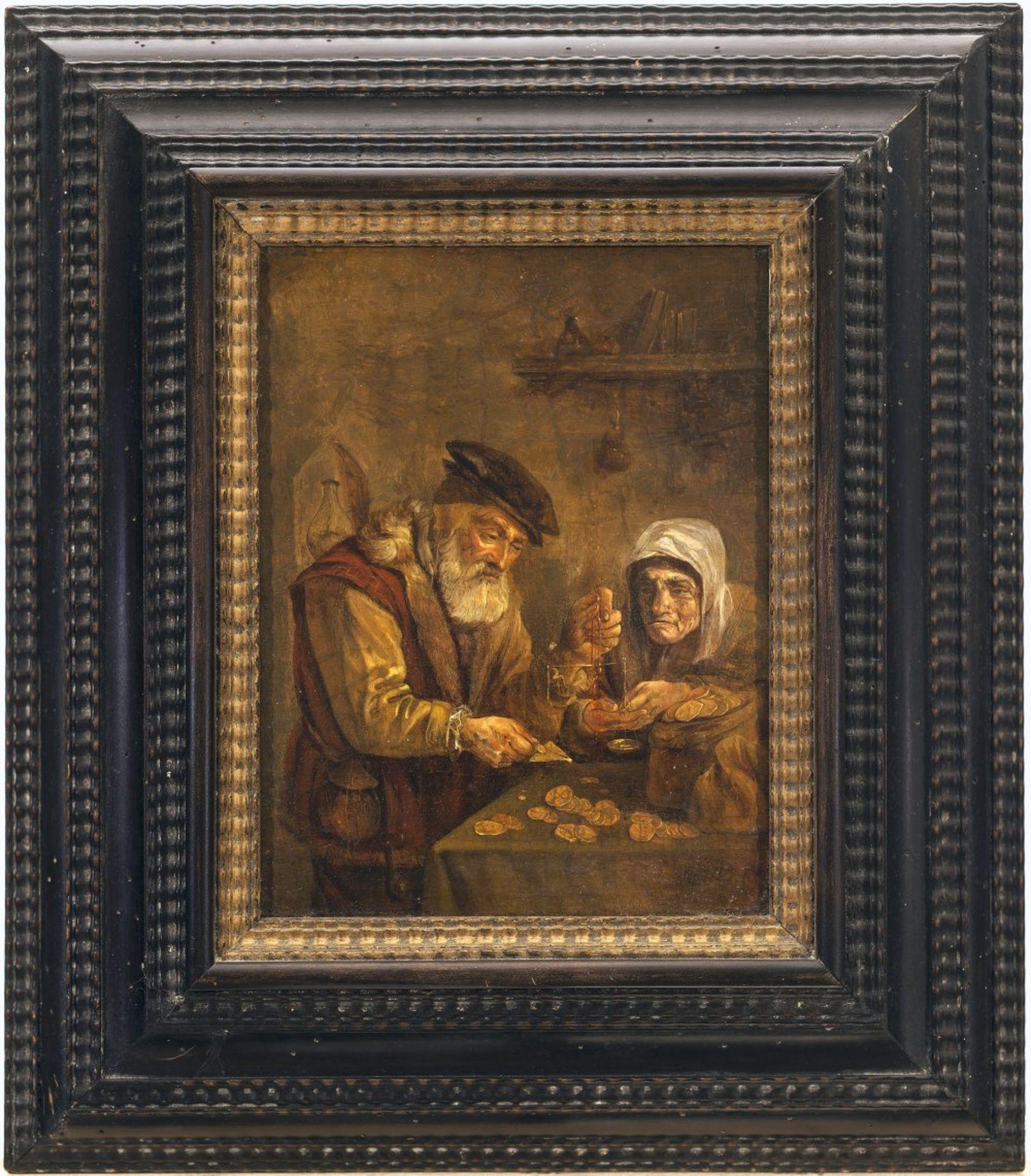 Niederlande, 17. Jh.Der Goldwäger. Öl/Holz. 23,5 x 17,5 cm. Besch., rest. Unsign.The Netherlands ,