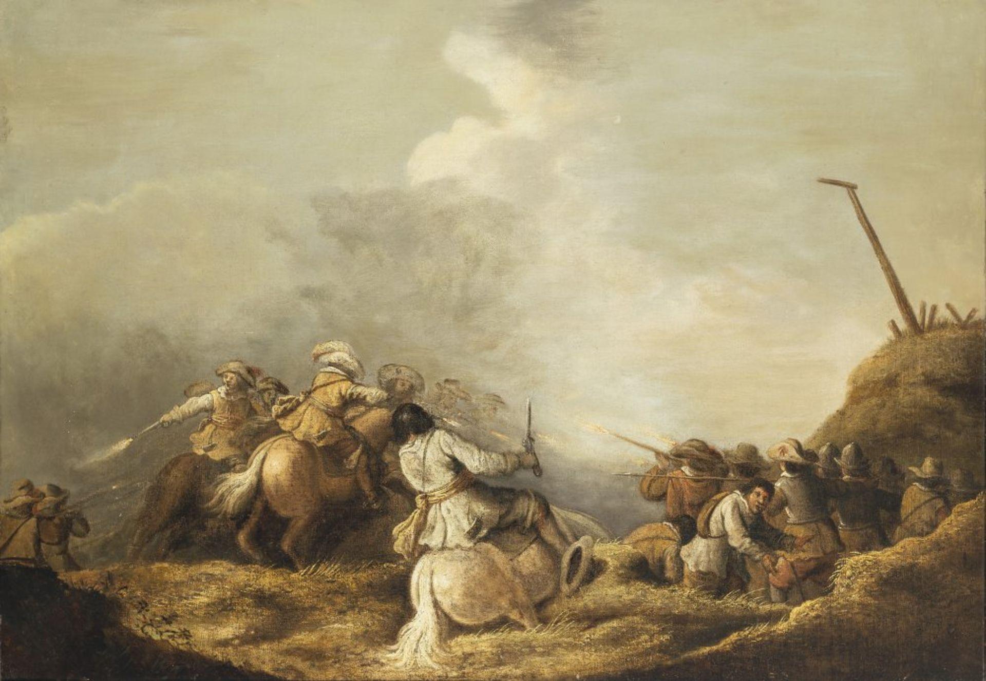 Niederlande, 18. Jh.Schlachtenszene. Öl/Lw. 61 x 87 cm. Rest., doubl. Unsign.The Netherlands, 18th