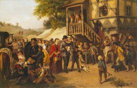 Deutsch, 19. Jh.Schützenfest. Öl/Hartfaser. 57,5 x 87 cm. Unleserlich sign., dat. 1875.