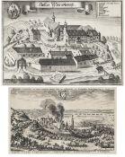 Zwei Grafiken1) Ansicht von Landshut. Matthäus Merian d. Ä., Radierung. 20,5 x 33 cm. Leicht besch.,