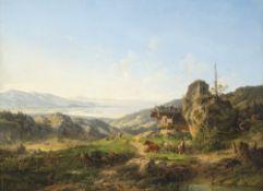 Ott, Johann NepomukAlm auf der Kampenwand, mit Blick auf den Chiemsee. 56,5 x 76 cm. Öl/Lw.