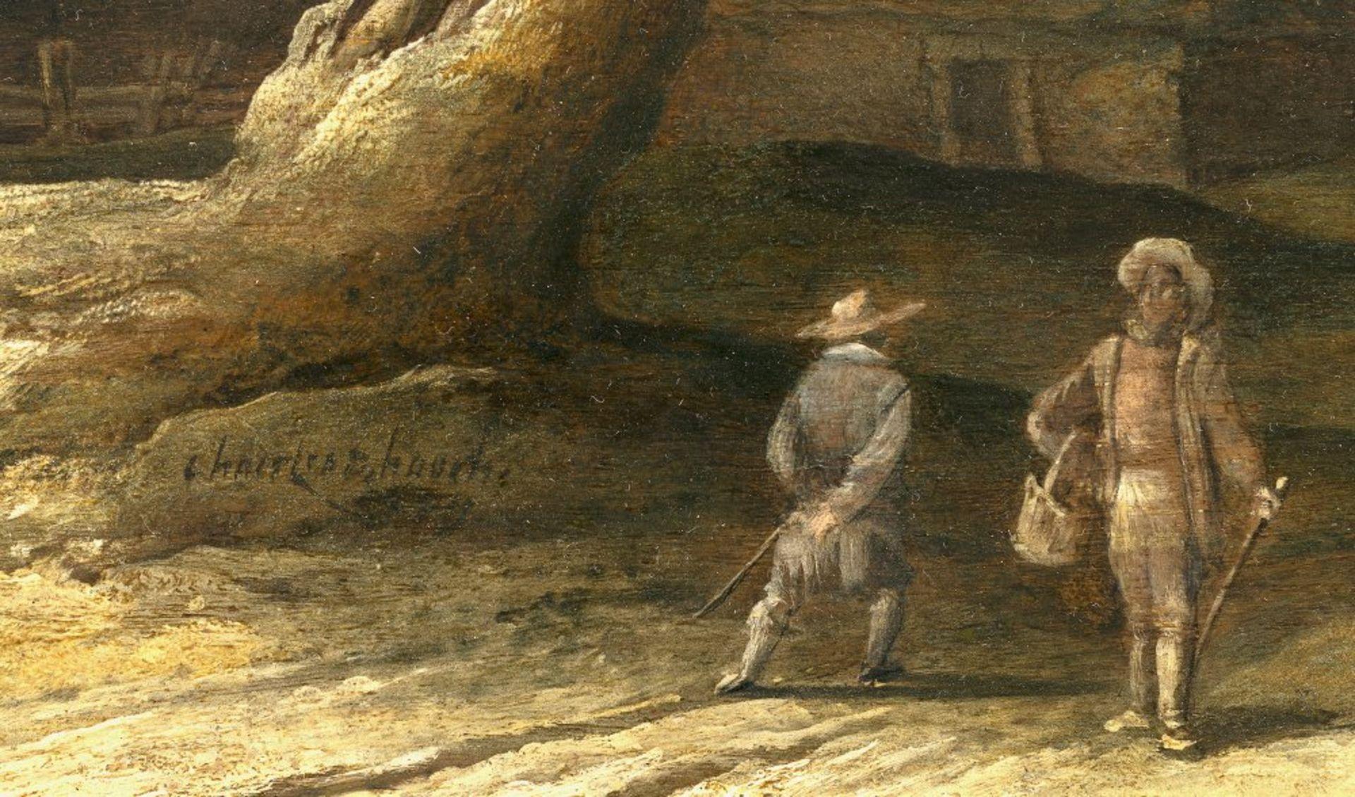 Hooch, Charles (Carel)Tätig 1627-1638 Utrecht. Holländische Dorflandschaft, im Vordergrund knorriger - Bild 2 aus 2