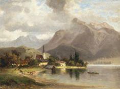 Morgenstern, Carl ErnstBlick auf den Tegernsee. Öl/ Holz. 24 x 32 cm. Sign., dat. 1874.