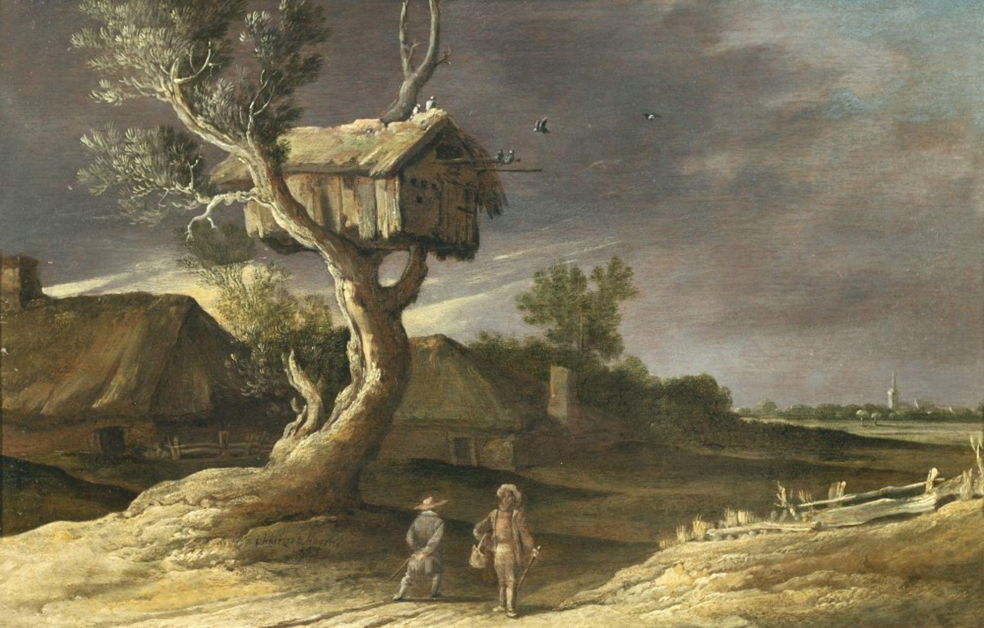 Hooch, Charles (Carel)Tätig 1627-1638 Utrecht. Holländische Dorflandschaft, im Vordergrund knorriger
