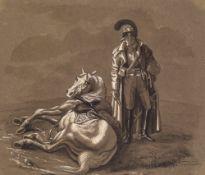 Schneider, F.Süddeutsch, 19. Jh. Chevauleger neben seinem Pferd. Sepiazeichnung. 20 x 23 cm. Sign.