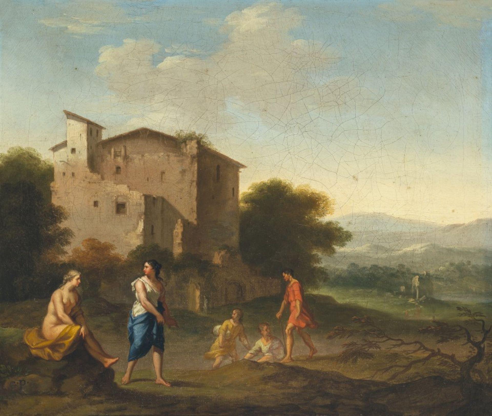 Poelenburgh, Cornelis van, zugeschriebenArkadische Landschaft mit Nymphen. Öl/Lw. 31 x 36,5 cm.