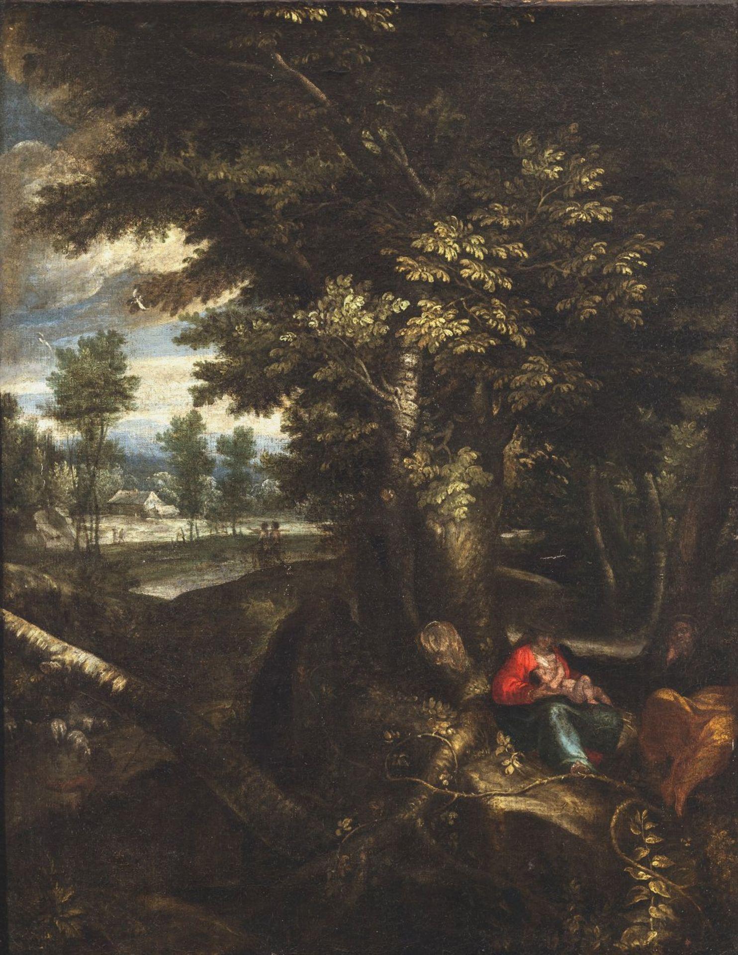 Arthois, Jacques d', zugeschriebenRuhe auf der Flucht. Heilige Familie unter einer üppig belaubten