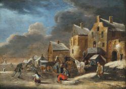 Heeremans, Thomas, zugeschriebenEisbelustigung vor holländischer Ortschaft, im Hintergrund