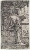 Altdorfer, AlbrechtDer lesende Hieronymus. Kupferstich. 10 x 6 cm. Rückseitig mit zwei