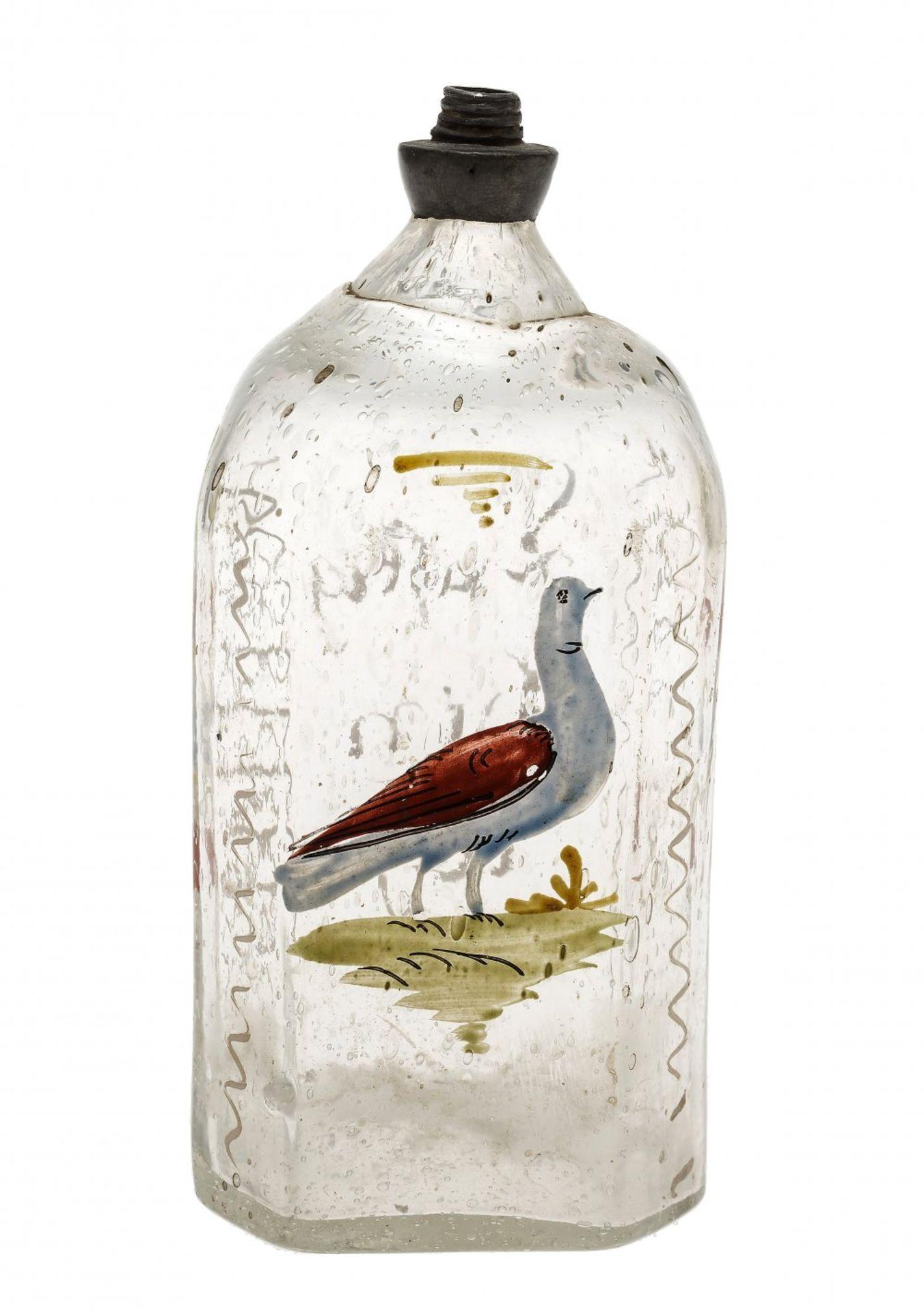 Los 44 - SchnapsflascheBayern, 19. Jh. Glas, bemalt, mit Sinnspruch. H. 15 cm.