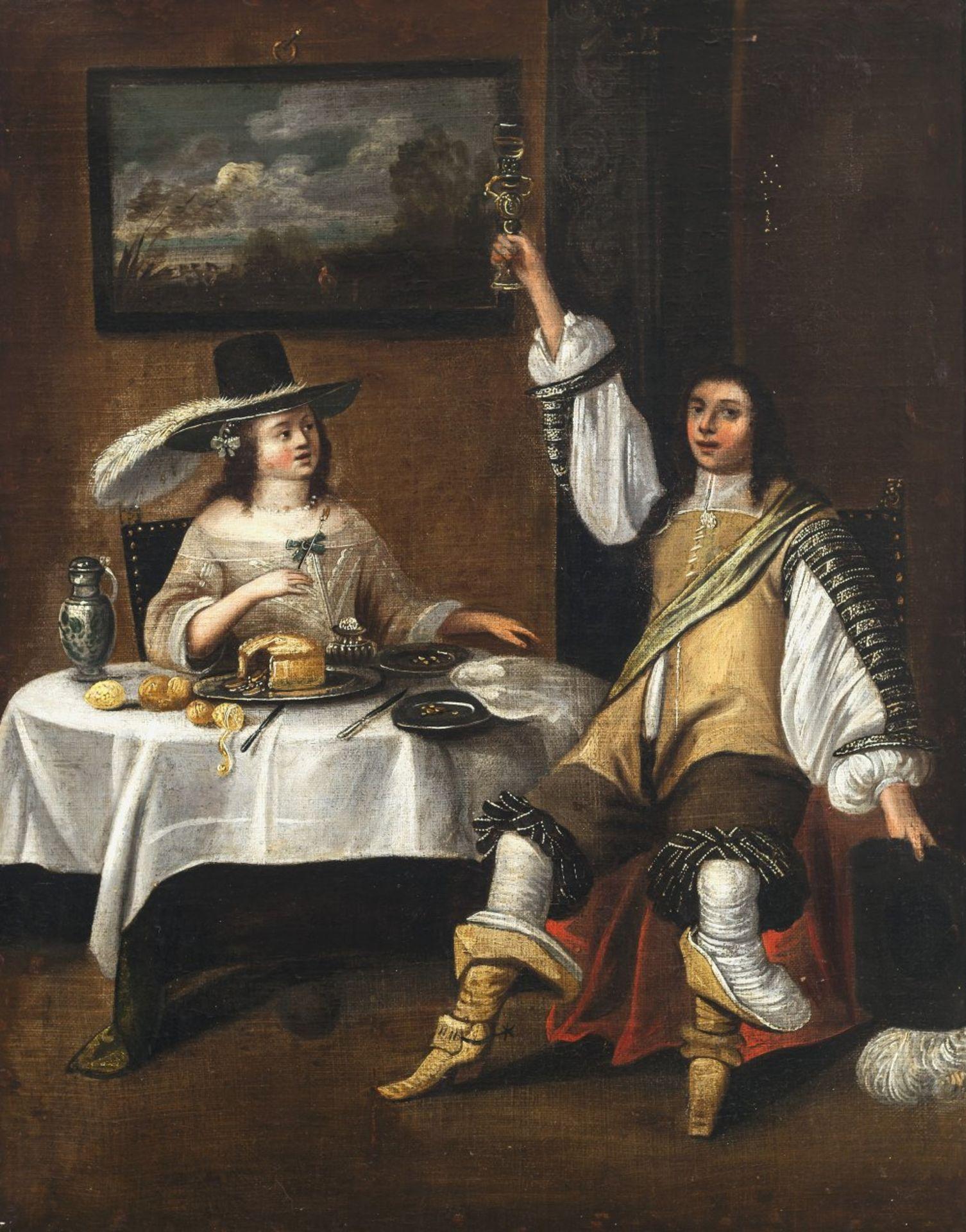 Lamen, Christoph Jacobsz van derDame und Herr zu Tisch. Die Dame trägt einen Feder geschmückten Hut,