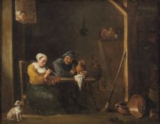 """Teniers, David, in der Art des""""Die neugierige Alte"""". Bauer und junge Magd mit Hund in der Stube. Die"""
