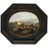Romeyn, WillemKühe, Schafe und Ziege vor weiter Landschaft. Öl/Holz. 26,5 x 32,5 cm, oval. Rest.
