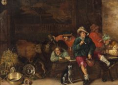 Bogaert, Hendrick Hendricks, zugeschriebenZechende und rauchende Bauern vor geöffneter Stalltür,