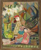 Beck, L. M., 20. Jh.Szene mit Hühnern, Spielzeug und Blumen. Öl/Hatfaser. 62,5 x 50 cm. Sign.