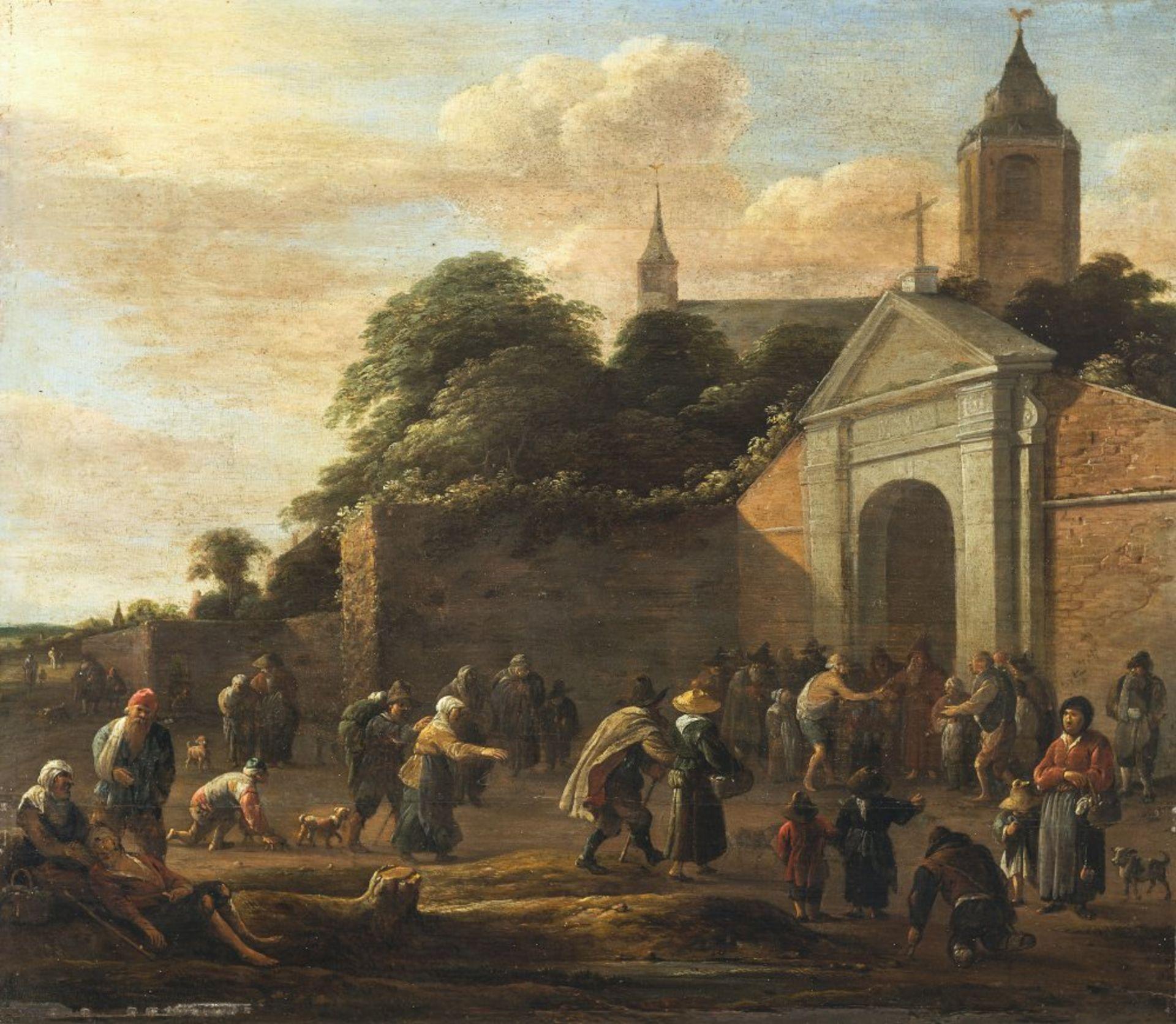 Flämisch, 17. Jh.Die Almosenspende vor dem Kloster. Öl/Holz. 33 x 38,5 cm. Riss, Rest. Unsign.
