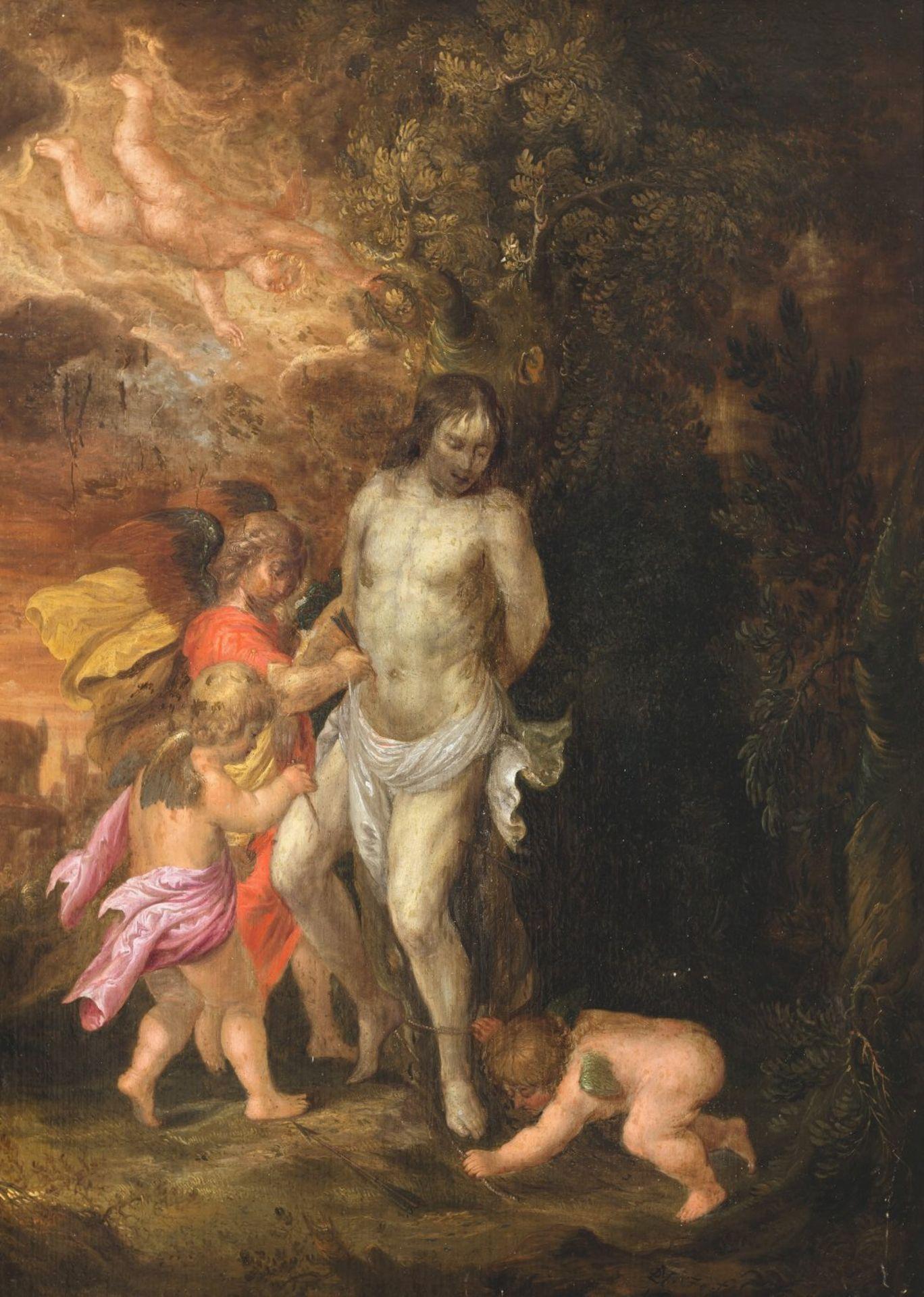 Niederländischer Monogrammist17. Jh. Heiliger Sebastian, von Putten umgeben. Öl/Holz. 41 x 32 cm.