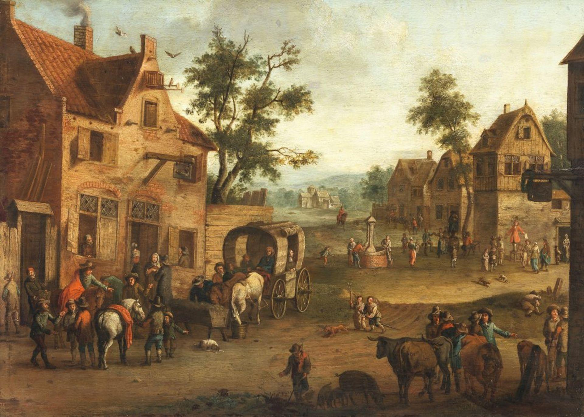 Droochsloot, Joost Cornelisz, Art desNiederlande, 17. Jh. Breite Dorfstraße mit Kutsche und Bauern