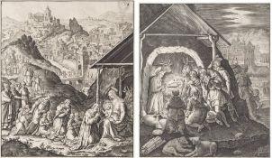 Zwei Kupferstiche17./18. Jh. M. de Vos / W. Hiernoymus. Anbetung der Hirten bzw. Anbetung der