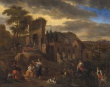 Niederlande, 17. Jh.Hirtenszene. Öl/Lw. 67 x 83 cm. Rest., unsign.The Netherlands, 17th