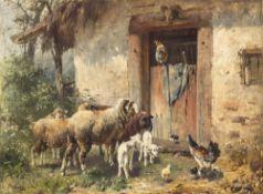 Gebler, OttoSchafe und Hühner vor dem Stall. Öl/Holz. 50 x 68 cm. Rest. Sign.
