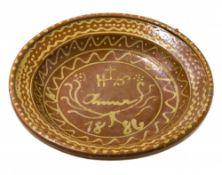 SchüsselAltbayern, dat. 1886. Irdenware, honigfarben glasiert, Im Spiegel Namenskartusche und