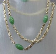 HalsketteSilber, Kordelform, 4 Jadezwischenstücke, endlos, ca 100g, l ca 80 cm,
