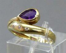 Damenring14 kt. Gelbgold, 1 tropfenförmiger Amethyst, 3 kleine Diamanten, ca 3g, RM 55,