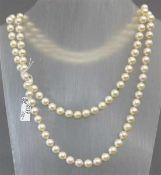 Halskette113 Zuchtperlen, weiß, d 7 mm, endlos, l 90 cm,