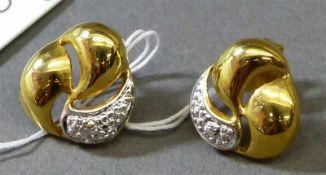 Paar Ohrstecker14 kt. Gelbgold, 2 kleine Diamanten als Besatz, ca 3g,