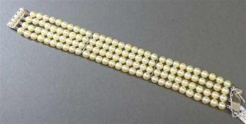 Armband835er Silberschloss, 120 Zuchtperlen, weiß, d 6 mm, 4-reihig, l 20 cm,