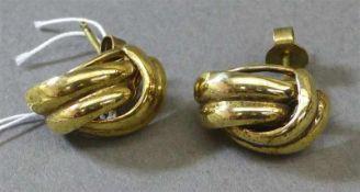 Paar Ohrstecker14 kt. Gelbgold, Knotenform, zusammen ca 4g,