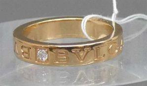 Bulgari Ring18 kt. Rosegold, 1 Brillant ca 0,05 ct., punziert und nummeriert, Original, ca 7g, RM