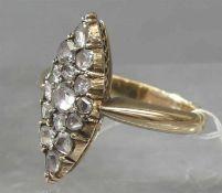 Marquisering, 19. Jh. 14 kt. Rotgold, besetzt mit 15 Altschliffdiamanten, Krampenfassung, ca 5g