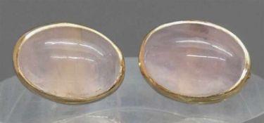 Paar Ohrstecker14 kt. Gelbgold, 2 ovale Rosenquarzcabochons, Verschlussklemme Silber, ca 6g,