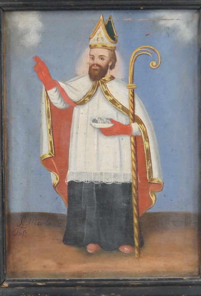 Lot 194 - Heiliger Nikolaus, Öl auf Leinwand, gerahmt, signiert, 19. JH, 45x35,5cm- - -24.00 % buyer's premium