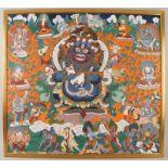 Tibetanische Thanka / Thanga auf zartem Stoff gemalen, fixiert auf Holzplatte, sehrfiligran, wohl um