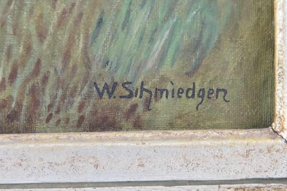 Lot 221 - Landschaft mit Fluss, Öl auf Leinwand, gerahmt, signiert, W. Schmiedgen, 66,5x80 cm- - -24.00 %