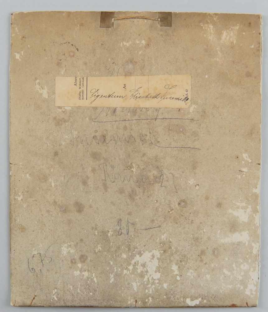 Lot 211 - Stubeninterieur, Öl auf Malkarton, Altersspuren, verso bezeichnet, 23x19,5cm- - -24.00 % buyer's