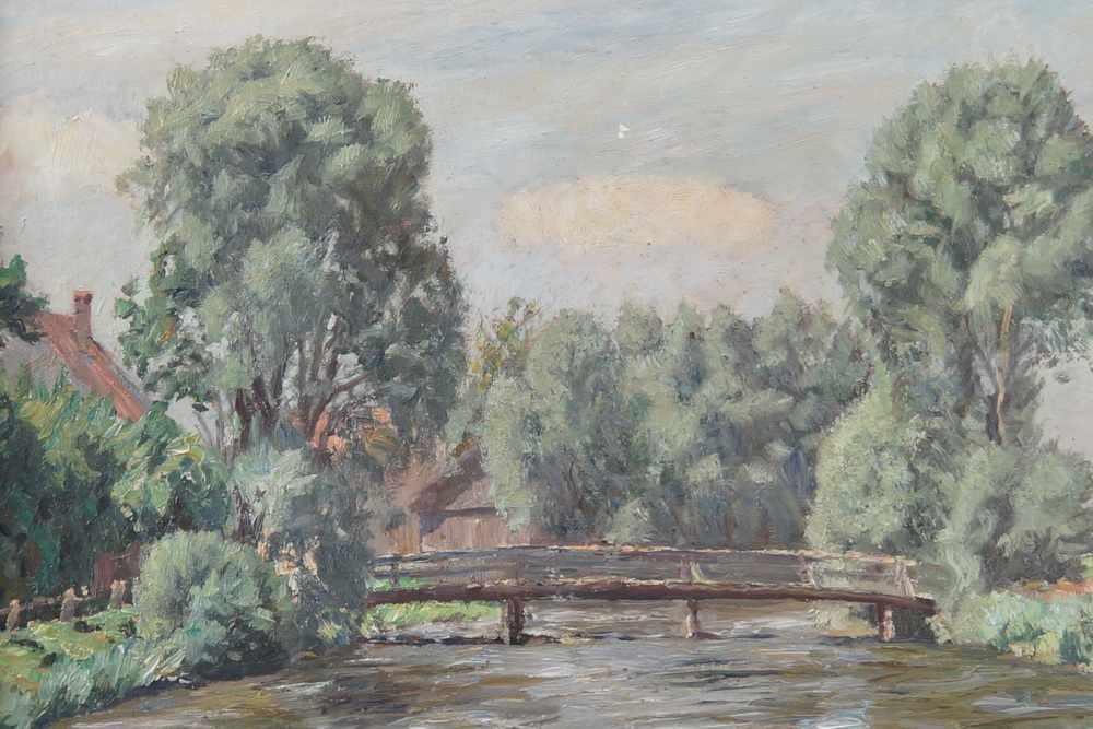 Lot 214 - Landschaft mit Holzbrücke über Gewässer, Öl auf Leinwand, gerahmt, signiert, A. Weise,
