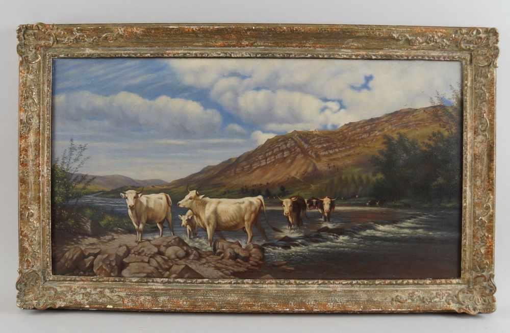 Lot 198 - Kühe am Fluss, auf der Rückseite bezeichnet, Öl auf Leinwand, gerahmt, besch., 45x76cm- - -24.00 %