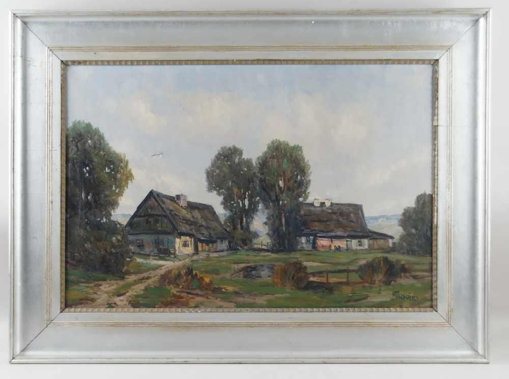 Lot 222 - Gehöft / Anwesen mit Landschaft, Öl auf Leinwand, gerahmt, signiert, 73x99cm- - -24.00 % buyer's