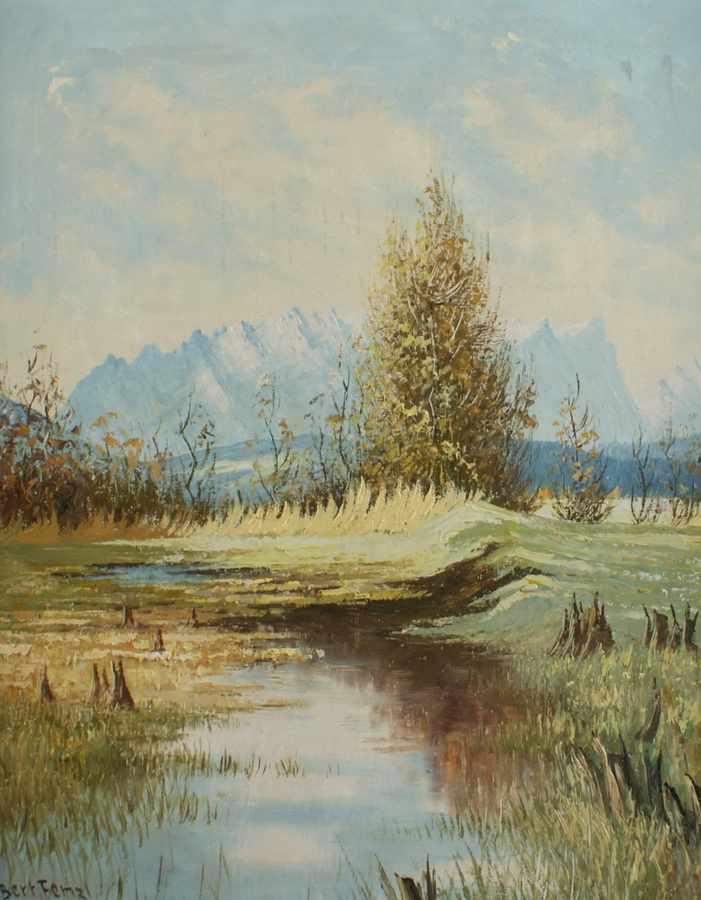 Lot 201 - Idyllische Moorlandschaft, Öl/Platte, sign. Bert Fenzl, ger., 63 x 53 cm- - -24.00 % buyer's premium